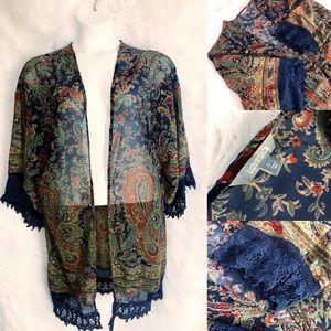 Paisley Kimono with Crochet Trim Size 0/1